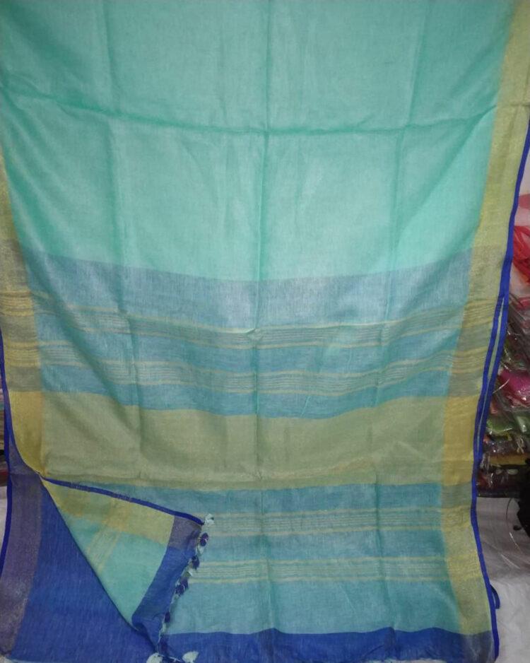 Teal Blue Plain Linen Saree
