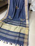 Dark Navy Blue Linen Embroidery Saree
