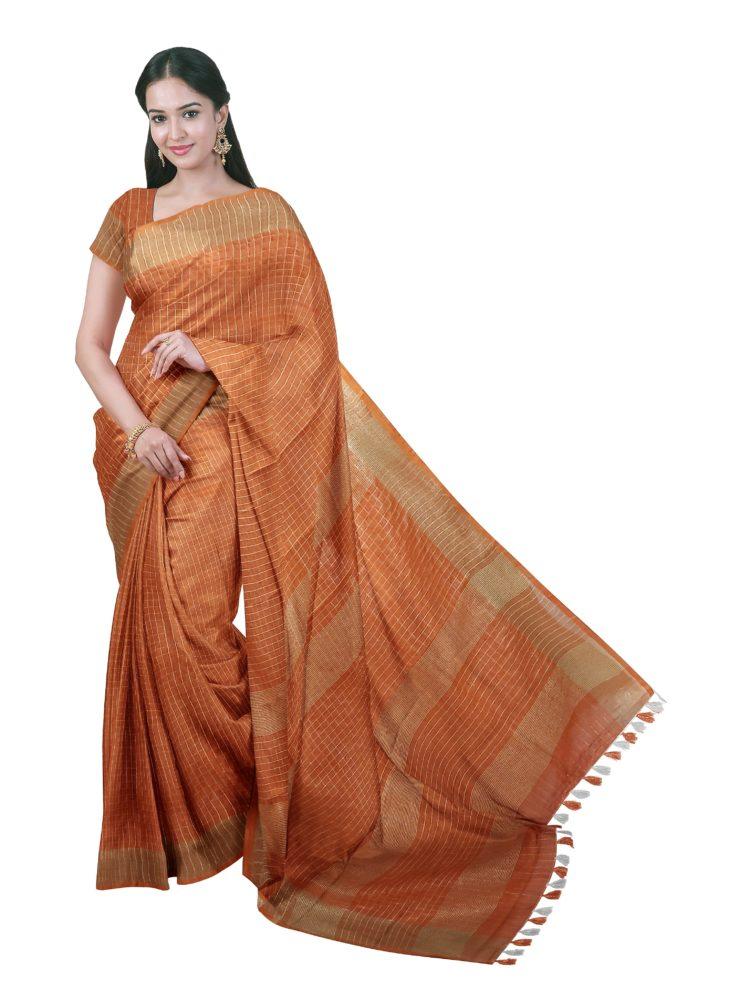 Orange linen checks sarees