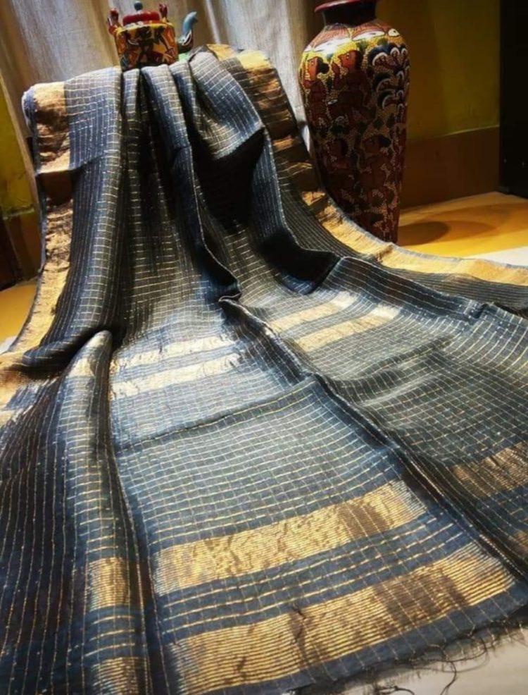 Grey Linen Check Sarees