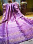 Purple Linen Check Sarees