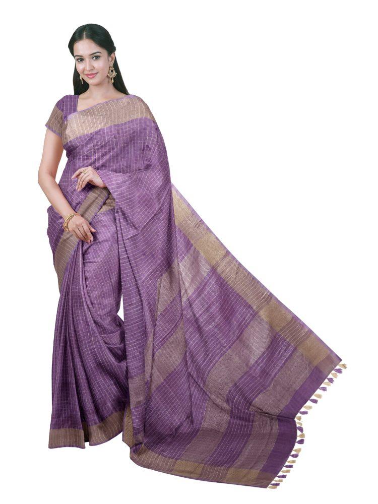 Purple linen checks sarees