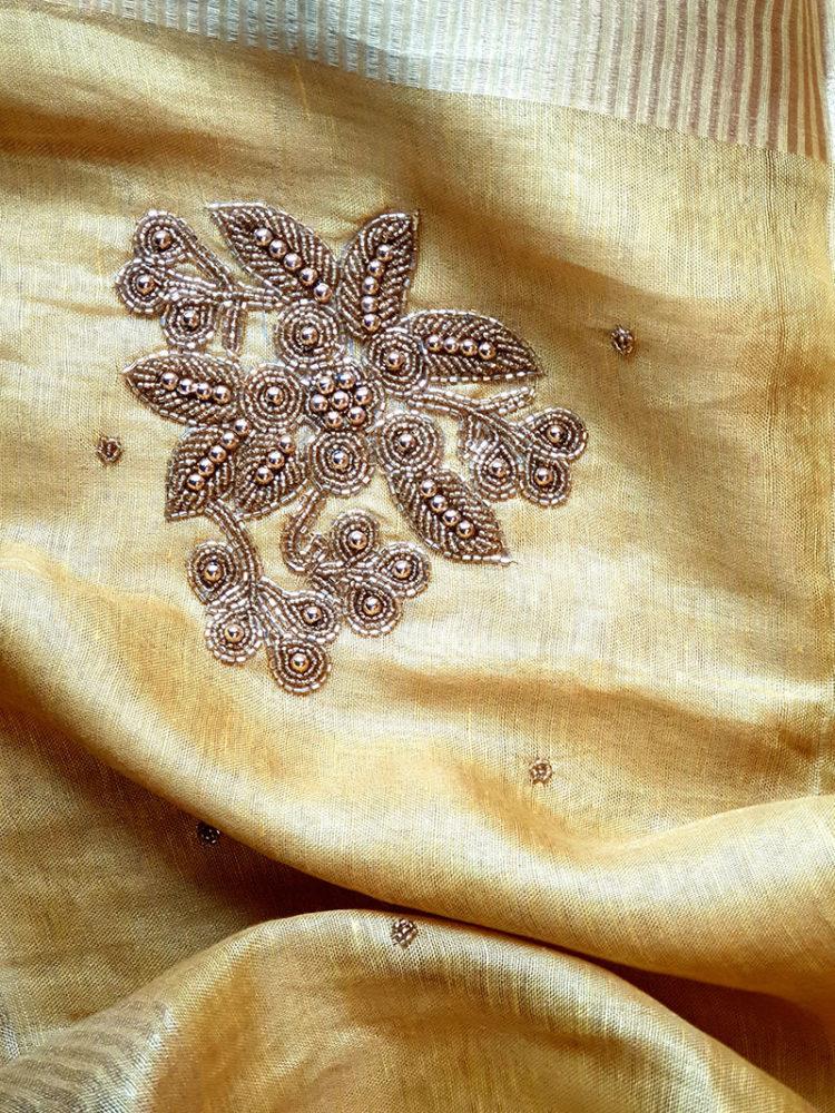 Handwork Embroidery on Golden Tissue Linen Saree