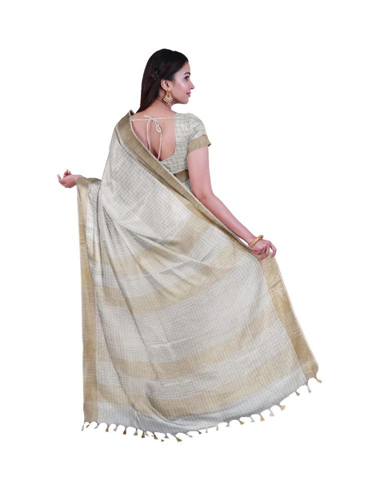 handloom linen checks sarees