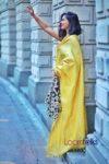 handwoven golden tissue linen sari