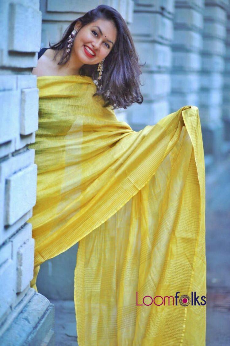Golden-tissue-linen-saree