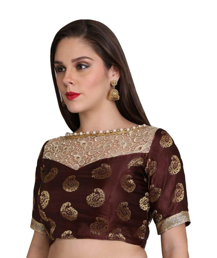 Coffee Brown Elbow Sleeve Silk Designer Blouse