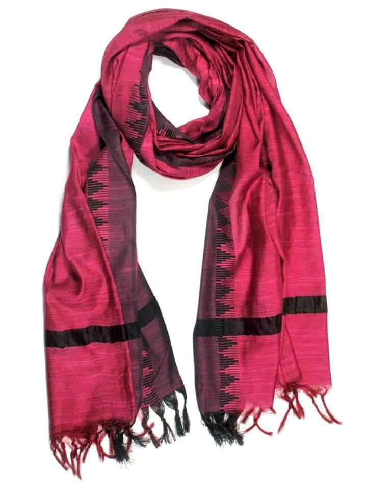 Pink with Black Border Kota Silk Dupatta