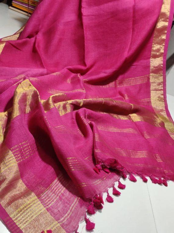 Pink plain Linen Saree with Golden Border