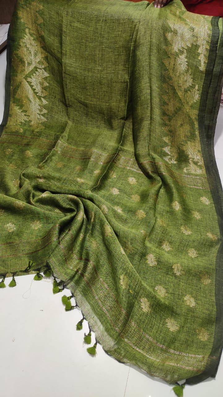 Mehendi Green Dakai Linen Saree with Jacquard design