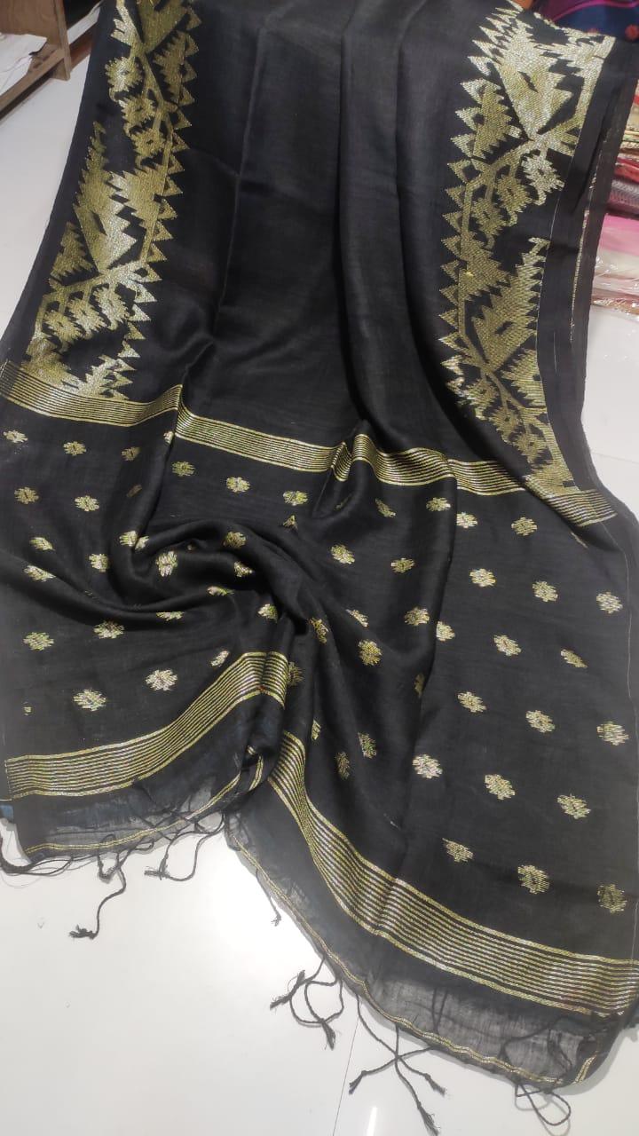 Black Dakai Linen Saree