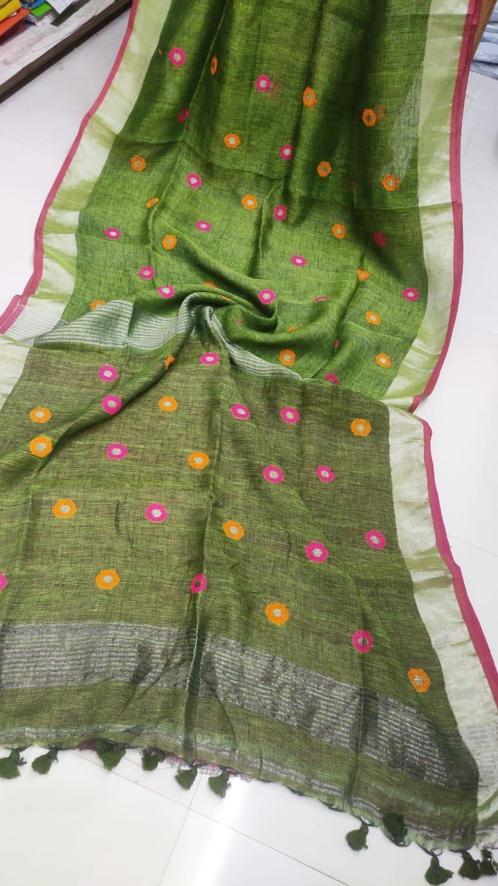 Mehendi Green Linen Saree