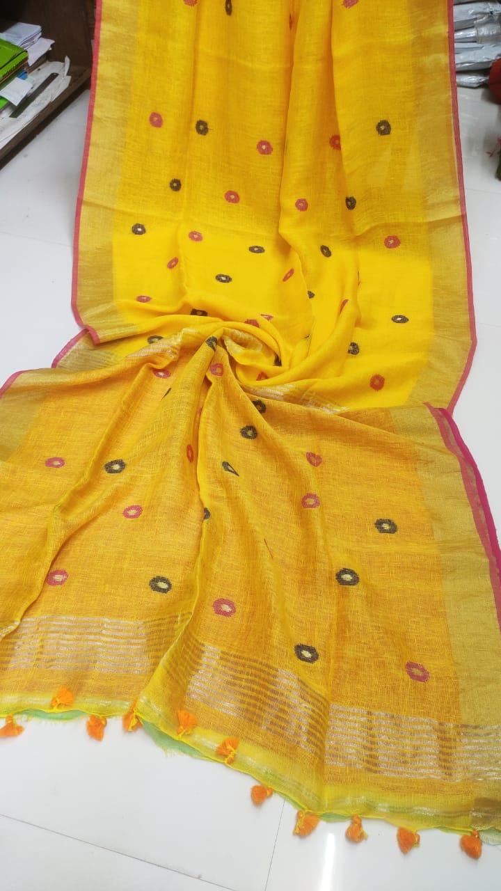 Yellow Linen Saree with Black and Pink Meenakari Design