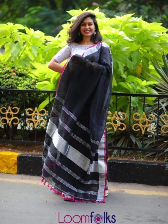 black linen sarees