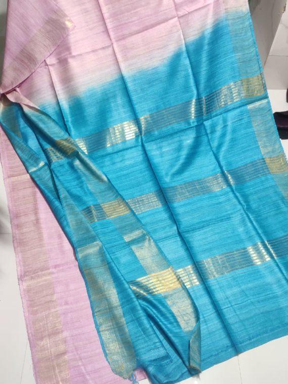 Baby-Pink-Tussar-Giccha-Saree-with-Contrast-Sky-Blue-Zari-Pallu