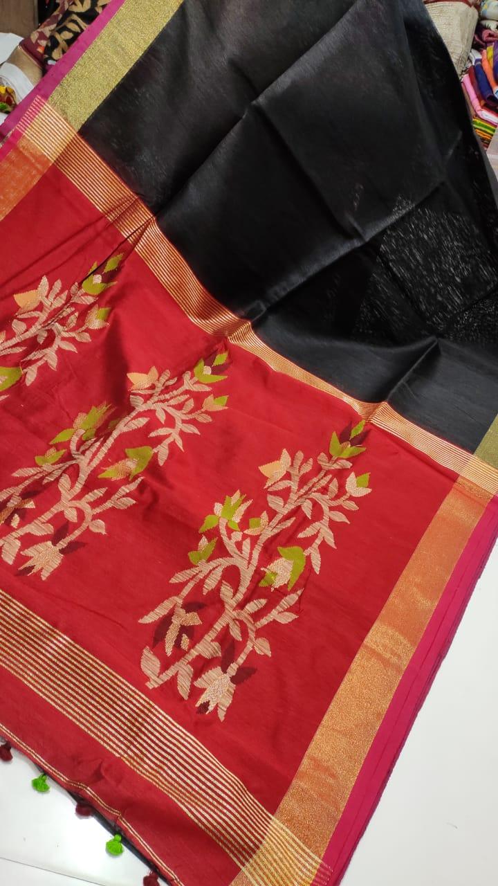Black-and-Red-Linen-Silk-with-Jamdani-Pallu