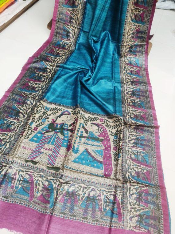 Blueish-shade-Tussar-Silk-Saree-with-Madhubani-Print