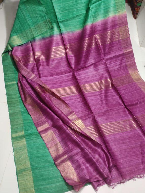 Green-Tussar-Giccha-Saree-with-Contrast-Purple-Zari-Pallu