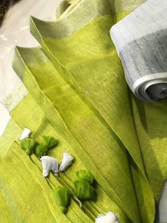 Lemon-Green-Plain-Linen-Saree-with-Silver-Border