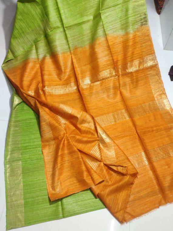 Light-Green-Tussar-Giccha-Saree-with-Contrast-Mustrad-Yellow-Pallu