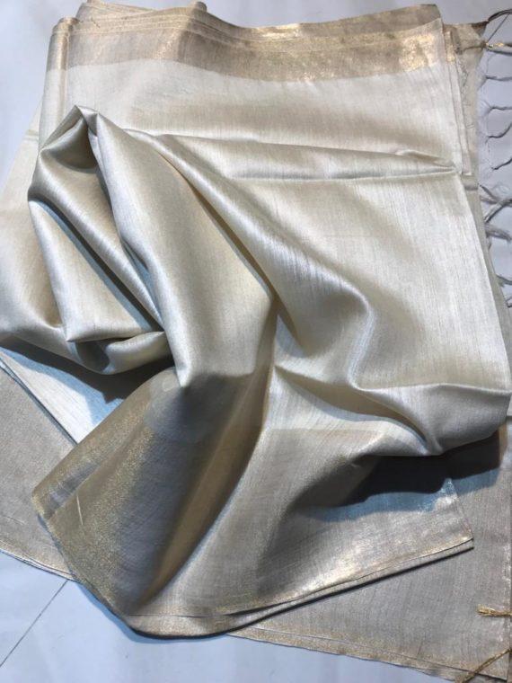 Pearl-White-with-Golden-Border-Tussar-Munga-Silk-Saree