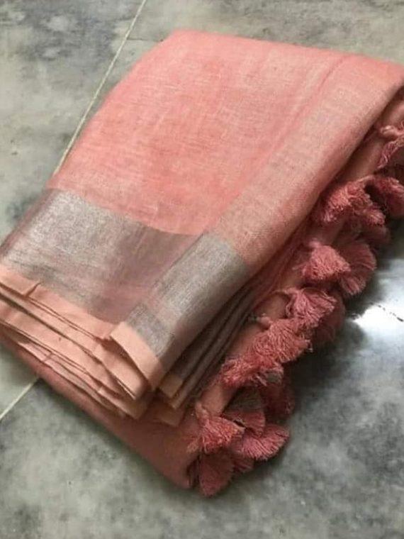 Pink-Peach-Plain-Linen-Saree-with-Silver-Border