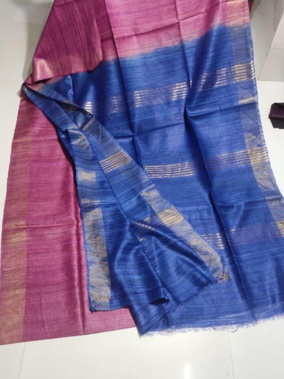 Pink-Tussar-Giccha-Saree-with-Contrast-Royal-Blue-Zari-Pallu