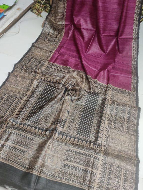 Pink-Tussar-Silk-Saree-with-Madhubani-Print