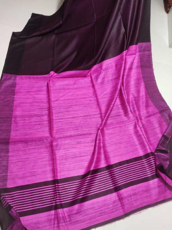 Plain-Dark-Puple-Tussar-Giccha-Saree-with-Contrast-Light-Purple-Pallu