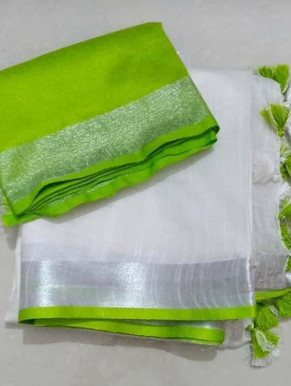 Pure-White-Plain-Linen-Saree-with-Silver-Green-Border