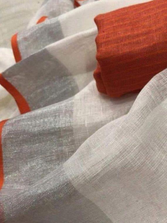 Pure-White-Plain-Linen-Saree-with-Silver-Orange-Border