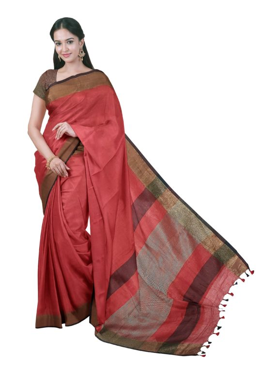 Red-Plain-Linen-Saree-with-Golden-Dark-Maroon-Border