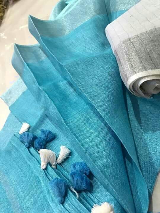 Sky-Blue-Plain-Linen-Saree-with-Silver-Border