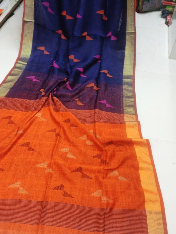 Blue and Orange Pallu Linen Butti Jamdani Saree