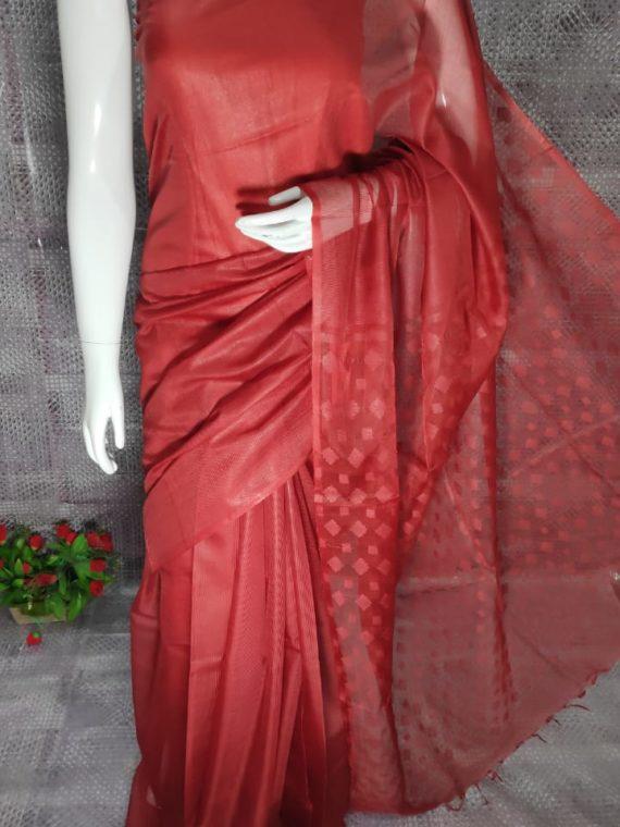 Brick Red Kota Silk Saree