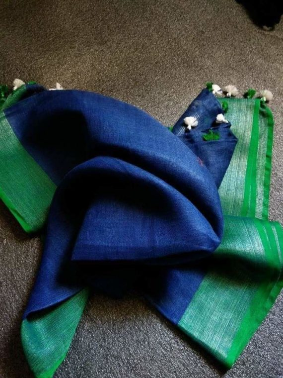 Dark Blue with Dark Green and Silver Zari Border plain Linen Saree