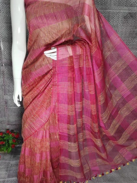Dark Pink Jute Kota Silk Saree