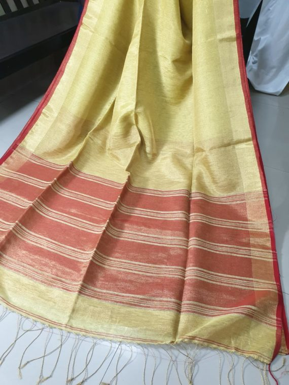 Golden Yellow with Red and Golden Border Tissue Linen Saree