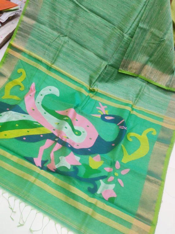 Green with Golden Border Natural Organic Jute Silk Saree