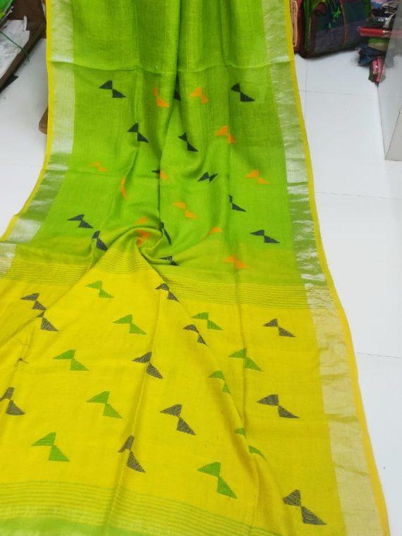 Lemon Green and Yellow Pallu Linen Butti Jamdani Saree