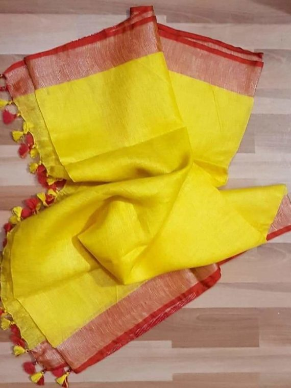 Lemon Yellow with Dark Red and Silver Zari Border plain Linen Saree