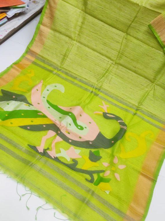 Light Green with Golden Border Natural Organic Jute Silk Saree