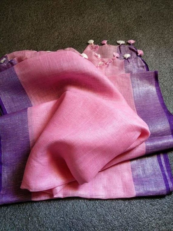Light Pink with Purple and Silver Zari Border plain Linen Saree