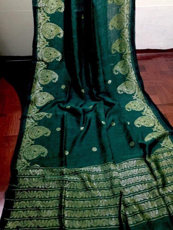 Teal Green Dhakai Linen Saree with Mango Jacquard design