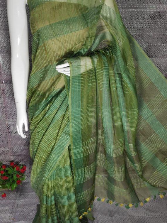 Mehendi Green Jute Kota Silk Saree
