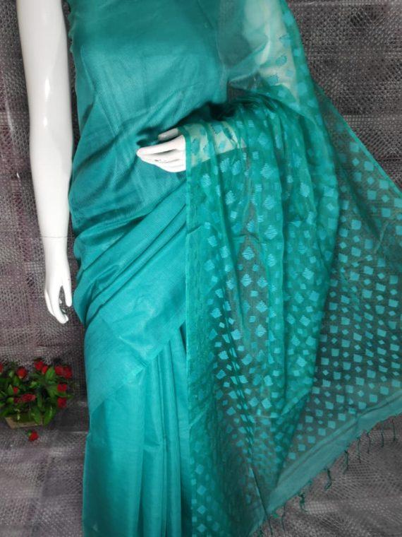 Ocean Blue Kota Silk Saree