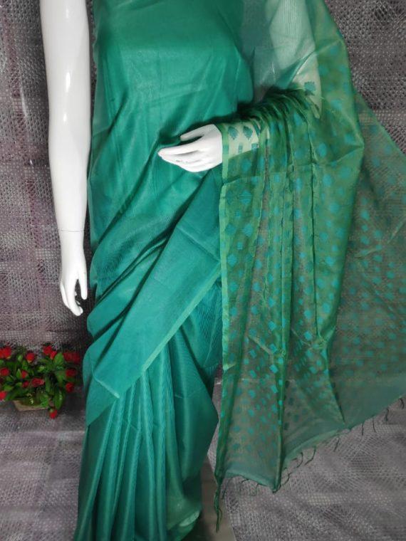 Ocean Green Kota Silk Saree