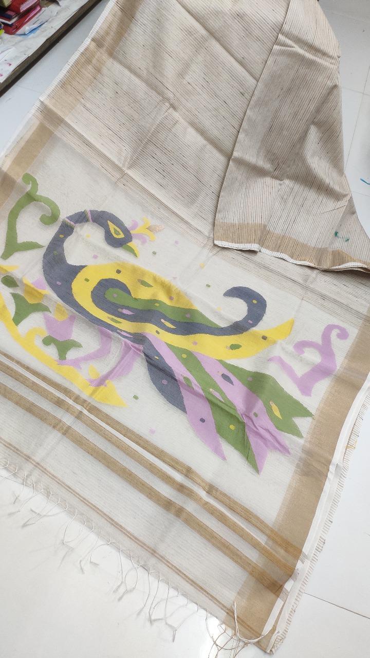 Off White Natural Organic Jute Silk Saree with Golden Border