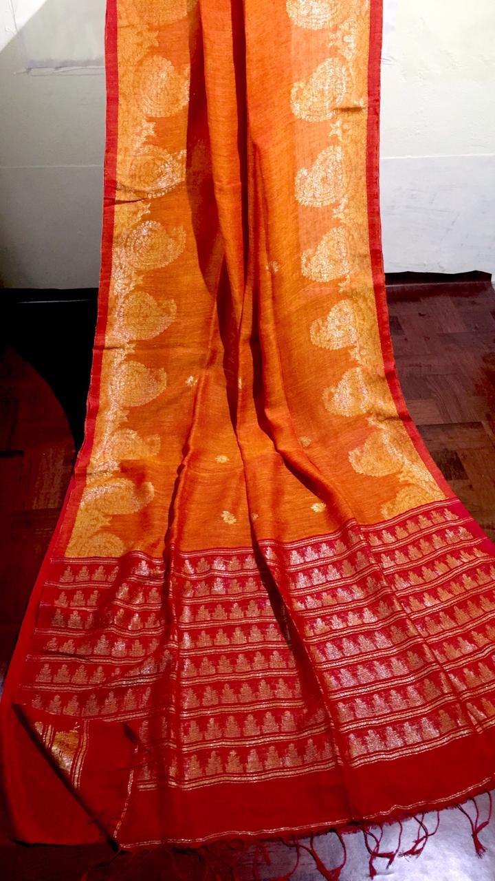 Orange Dhakai Linen Saree with Mango Jacquard design