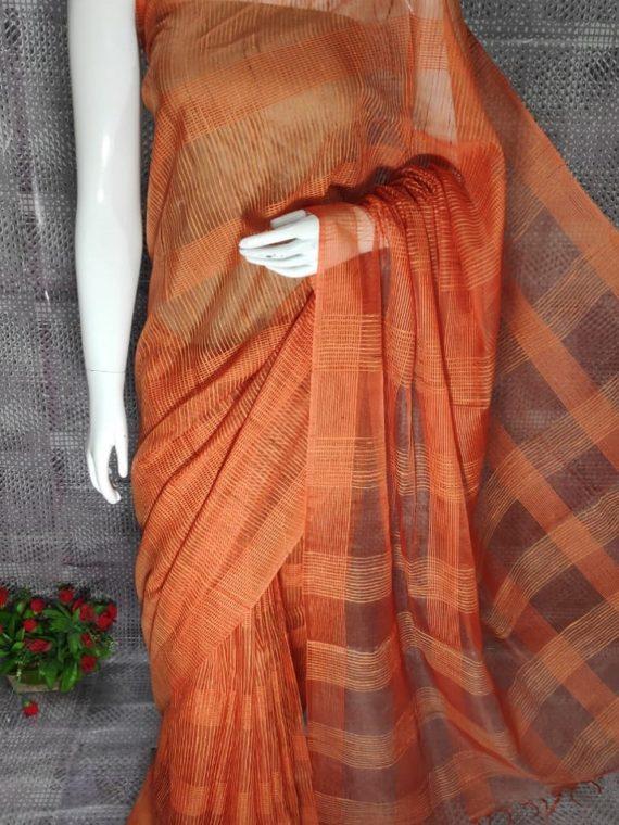 Orange Jute Kota Silk Saree